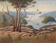 Sale 8558 - Lot 591 - Gordon Esling (1897 - 1973) - Lake in Burragorang Valley, 1972 39 x 49cm