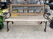 Sale 8740 - Lot 1229 - Timber and Metal Outdoor Bench
