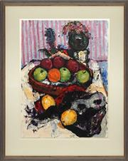 Sale 8771 - Lot 2021 - Val Landa (1940 - ) - Fruit Bowl and Phantom Mask 76 x 56cm (frame 105.5 x 84cm)