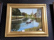 Sale 8906 - Lot 2059 - Artist Unknown - Boats on a River, Gilt Frame Oil Painting