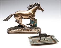 Sale 9098 - Lot 125 - An Art Deco Horse Themed Ashtray W: 16.5cm And A composite Example W: 24cm