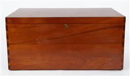 Sale 9123J - Lot 126 - A large vintage Australian cedar trunk in good condition for age C: 1930. The interior lined and fitted with a lock, the 4 corners j...