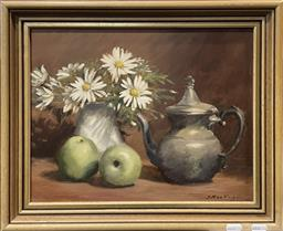 Sale 9135 - Lot 2048A - J MacKenzie Still Life: Silver Pot, Green Apples and Daisies oil on board, signed