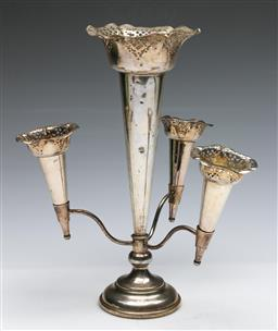 Sale 9168 - Lot 410 - A silver plated four branch epergne (H:31cm)