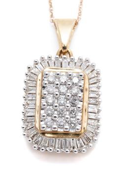 Sale 9260H - Lot 317 - A 10ct gold diamond pendant necklace; centring 15 round brilliant cut diamonds totalling approx. 0.30ct to surround of tapered bague...
