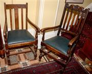 Sale 8080A - Lot 35 - Two Jacobean style armchairs with drop in seats, one with carved crown.