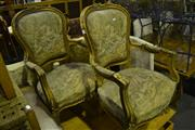 Sale 8093 - Lot 1702 - Pair of Louis Style Gilt Armchairs with Tapestry Upholstery