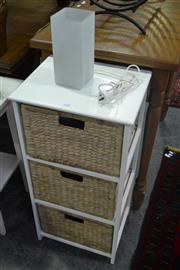 Sale 8105 - Lot 1088 - 3 Drawer storage unit and glass table lamp