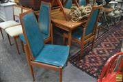 Sale 8326 - Lot 1481 - Seven Piece Retro Dining Setting incl. Extension Table & Six Chairs
