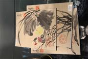 Sale 8348 - Lot 99 - Chinese Water Colour Paintings of Flowers & Insects (3)