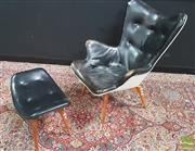 Sale 8395 - Lot 1030 - Grant Featherston R160 and Footstool with Original Paper Label