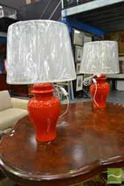 Sale 8507 - Lot 1094 - Pair of Italian Red Ginger Jar Shape Table Lamps (2800)