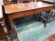 Sale 8576 - Lot 1043 - Victorian Mahogany Side Table, with low back (missing one screw), two drawers & turned legs