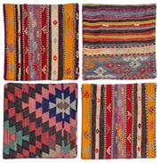 Sale 8575J - Lot 145 - A collection of four Kilim cushion covers with zippers, various patterns, 40 x 40cm (as new)