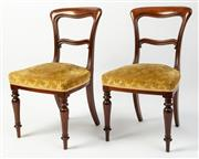 Sale 8620A - Lot 21 - A set of 6 antique English mahogany shaped bar back chairs c. 1870. The seats upholstered in self patterned old gold cut velvet. The...