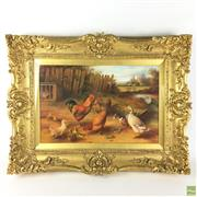 Sale 8649R - Lot 93 - William J. Webb - Oil on Panel - (44 x 29cm), singed WJW to rabbit cage
