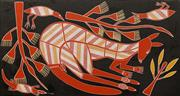 Sale 8647 - Lot 573 - Andrew Marrgululu (1959 - ) - Red Kangaroo 59 x 110.5cm (stretched and ready to hang)