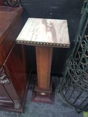Sale 8648C - Lot 1007 - Inlaid Timber Plinth with Marble Top and Brass Trim
