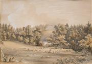 Sale 8753 - Lot 2030 - J H Burgess (C19th) - View to Norbury House, Surrey, 1858 27 x 38.5cm