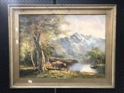 Sale 8797 - Lot 2040 - Artist Unknown - Mountain Landscape, oil, signed