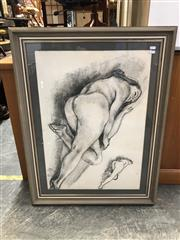 Sale 9024 - Lot 2088 - Artist Unknown Reclined Nude Study charcoal on paper (AF) 72 x 94cm (frame) signed