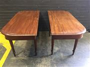 Sale 9068 - Lot 1005 - Late Georgian Mahogany D End Dining Table (no extension leaf), can be used also as side tables, raised on ring turned legs (H74 x...