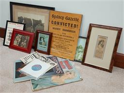 Sale 9103H - Lot 87 - A group of assorted ephemera mainly framed including olda XIV of Coolangatta, largest 49.5cm x 44cm