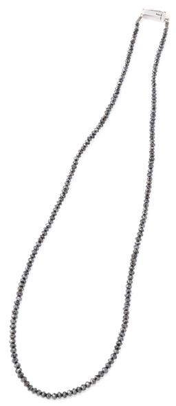 Sale 9140 - Lot 390 - A BLACK DIAMOND NECKLACE; strung with 2 - 2.7mm round faceted black diamond beads to a 14ct white gold box clasp with safety clip, l...