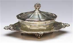 Sale 9175 - Lot 70 - A Silver (800) and Glass Lidded Sweets Dish on Tray (L: 22cm) (silver wt only 242g)