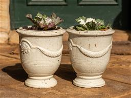 Sale 9191W - Lot 498 - A pair of cream  glazed Anduze style planters. Planted with Kale H.25cm