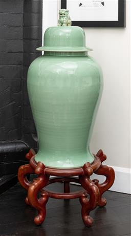 Sale 9248H - Lot 41 - A celadon glazed Chinese vase large with lid height 118cm