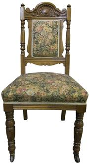Sale 8258A - Lot 39 - Set of six oak Edwardian chairs with carved and turned members, light oak colour with tapestry upholstery in good condition, fine qu...
