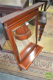 Sale 8267 - Lot 1091 - Late Victorian Mahogany Wall Mirror, with satinwood banding & shelf (chip to cornice)