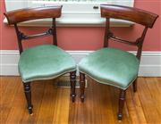 Sale 8284A - Lot 18 - A set of eight mid 19th Century bar back dining chairs with sage velvet upholstery