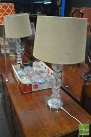 Sale 8299 - Lot 1028 - Pair of Glass Base Table Lamps