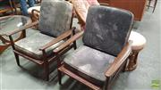 Sale 8409 - Lot 1030 - Pair of Guermonprez Rosewood Armchairs