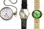 Sale 8547 - Lot 490 - THREE ASSORTED GENTS WATCHES; a retro Louis Rossell Nauchatel automatic wristwatch with green dial day date, centre seconds, ETE 28...