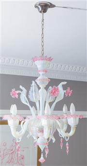 Sale 8575H - Lot 50 - A Murano six light vaseline and rose glass floral chandelier, interspersed with acanthus leaf and stylised flowers, includes two spa...