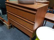 Sale 8684 - Lot 1011 - Vintage Teak Chest of 3 Drawers