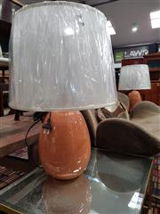 Sale 8769 - Lot 1057 - Pair of Ceramic Egg Shaped Table Lamps (2642)