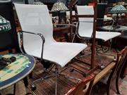 Sale 8834 - Lot 1017 - Pair of Eames Style Aluminium Group Chairs in White Mesh