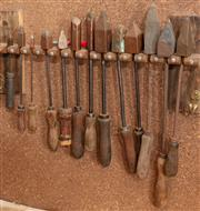 Sale 8984H - Lot 371 - A wall mount selection of soldering/blacksmiths tools.