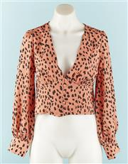 Sale 9090F - Lot 169 - A WHITE FOX LONG SLEEVE BLOUSE; in tan leopard print with low V neck,  size M (new with tags)