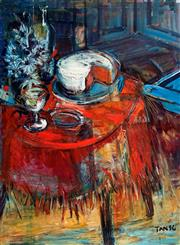 Sale 9077 - Lot 2036 - Artist Unknown Interior Still Life, 1990 acrylic on canvas 122 x 91cm, signed lower right -