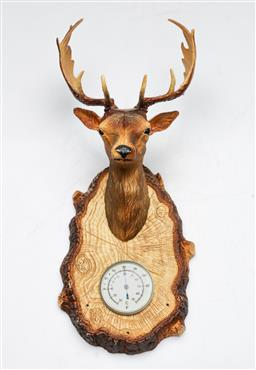 Sale 9156 - Lot 53 - A French wall mount Stag themed Barometer marked Erref Et Relief Annee  (H:34cm  D:16cm)