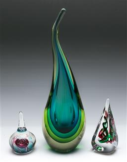 Sale 9164 - Lot 213 - A large unusual art glass paperweight (H: 35cm), together with two paperweights (H:14cm & 11cm)
