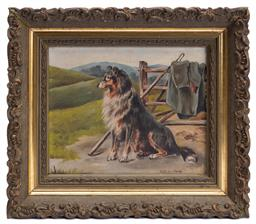 Sale 9185E - Lot 172 - A framed artwork of a collie, Left in charge, 13cm x 16cm