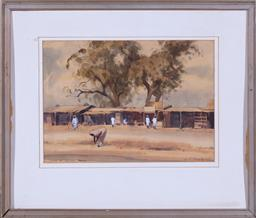 Sale 9190H - Lot 379 - GS crossley?, sheds at red gaon - poona, watercolour, signed and dated LR, 65',27cm x 38cm, missing glass