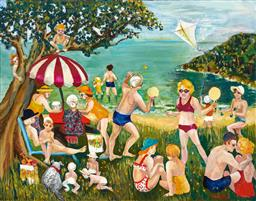 Sale 9216A - Lot 5051 - DENISE PARK Family Picnic oil on canvas 56 x 71 cm signed lower right, titled verso