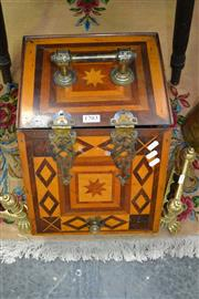 Sale 8093 - Lot 1703 - Antique Coal Box with Geometric Inlay & Brass Fittings